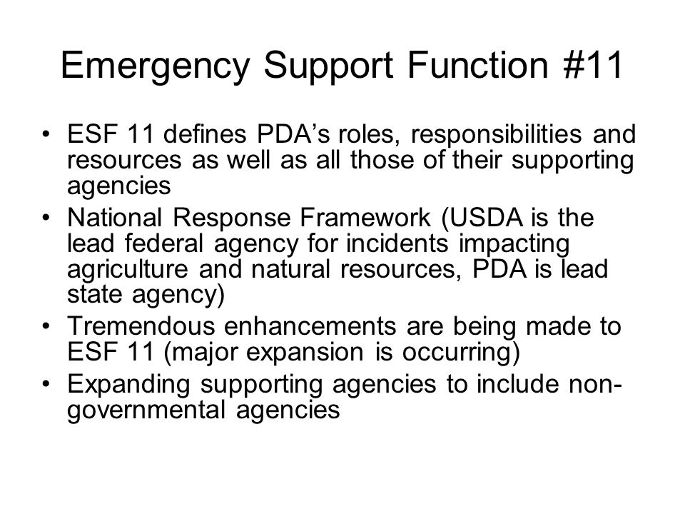 Emergency Support Function #11