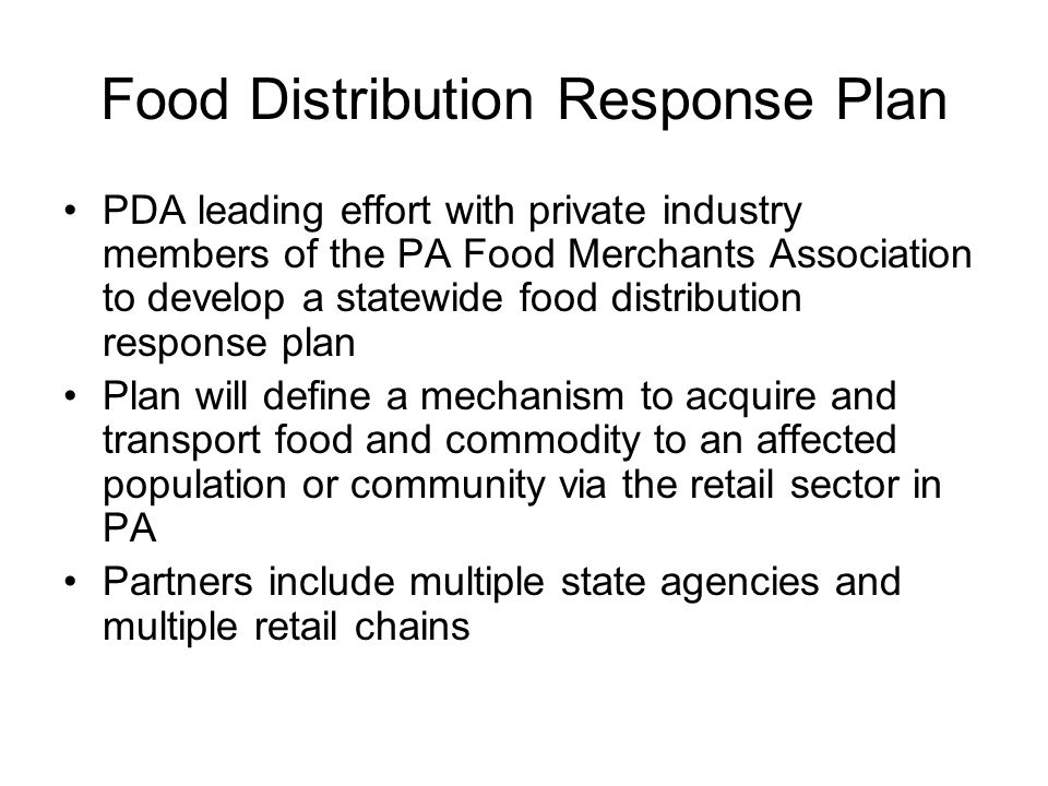 Food Distribution Response Plan