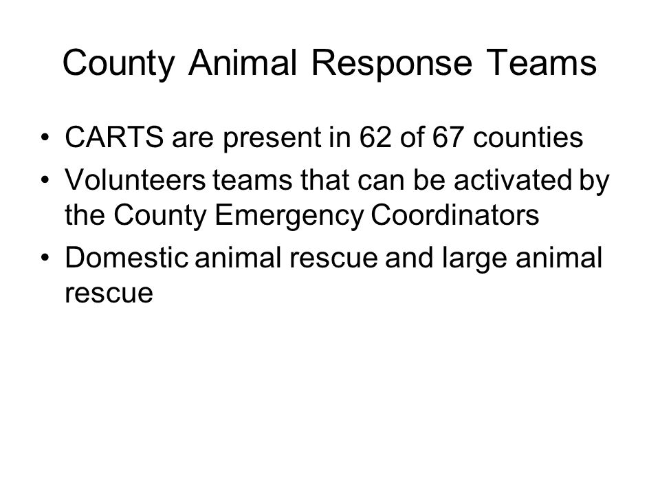 County Animal Response Teams
