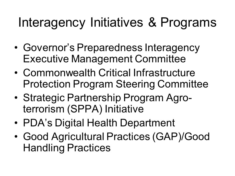 Interagency Initiatives & Programs