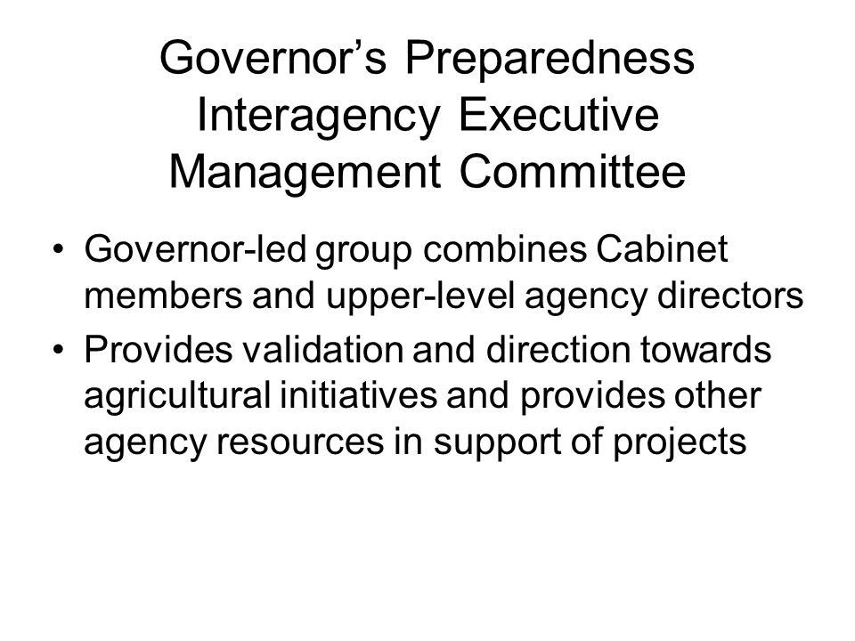 Governor's Preparedness Interagency Executive Management Committee