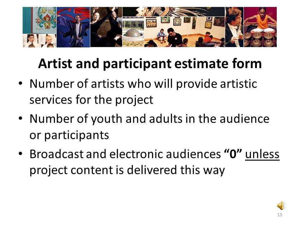 Artist and participant estimate form