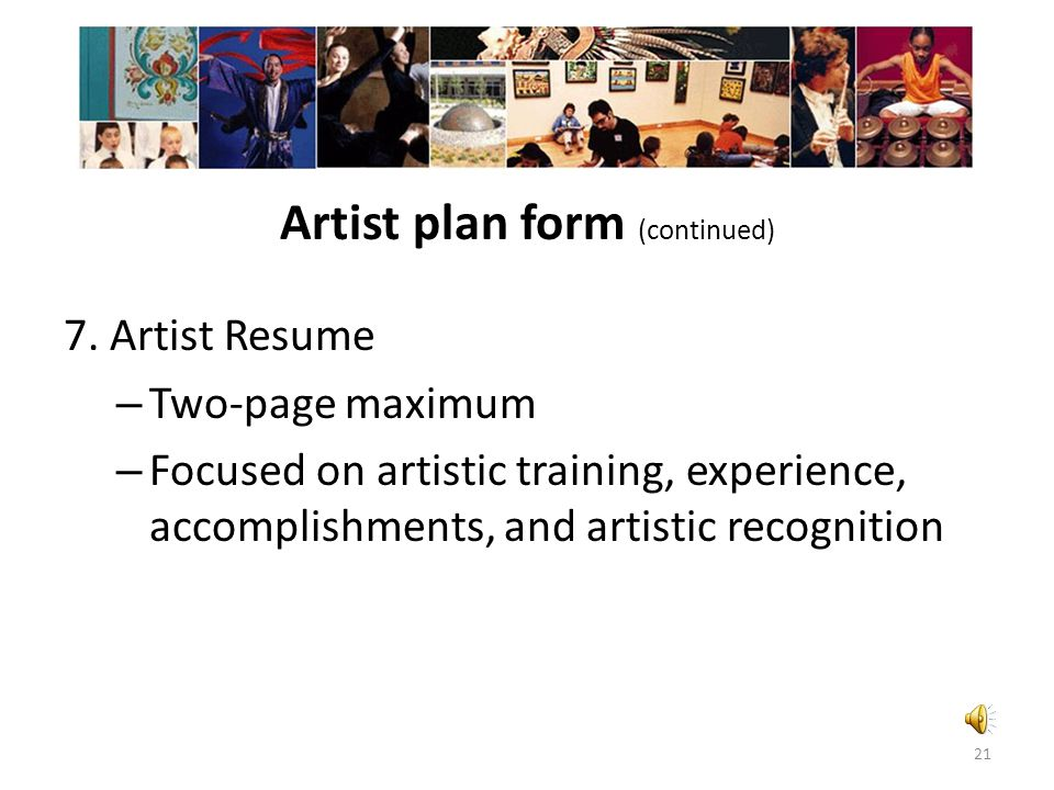 Artist plan form (continued)