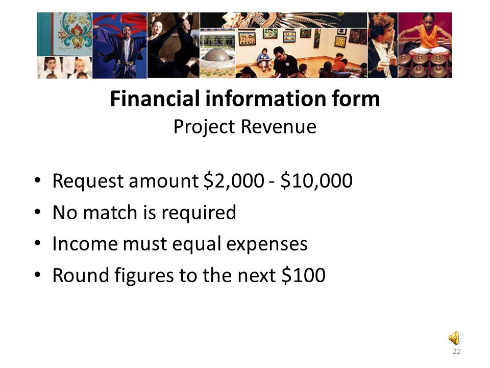 Financial information form Project Revenue