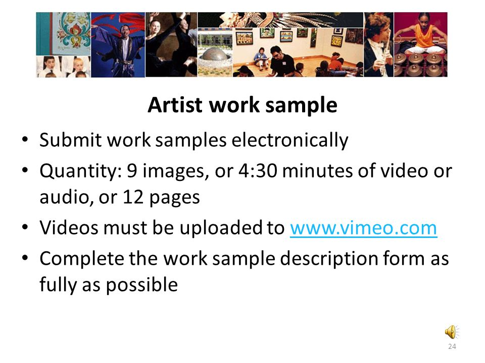 Artist work sample Submit work samples electronically