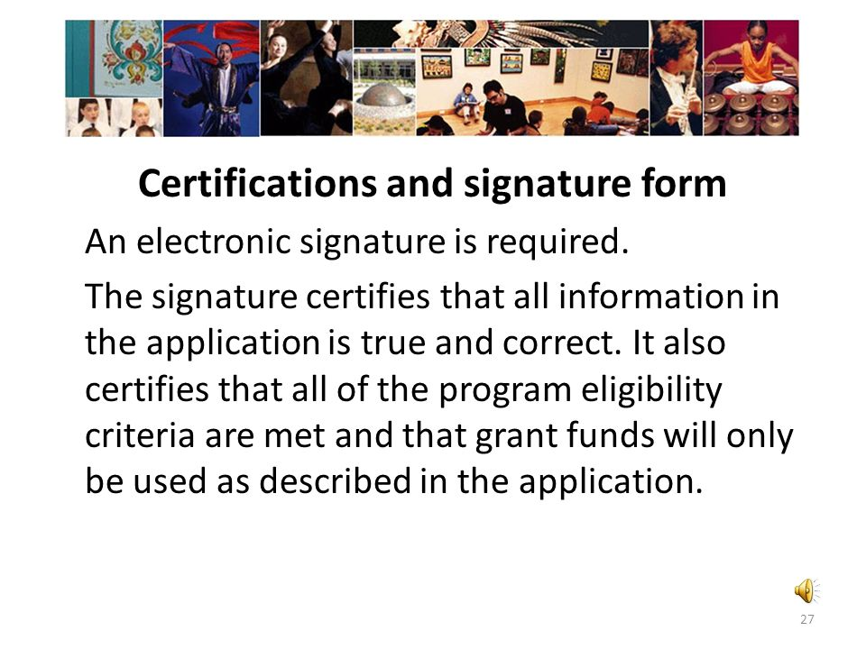 Certifications and signature form