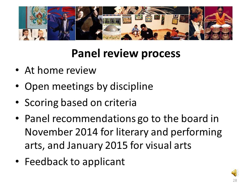 Panel review Panel review process At home review