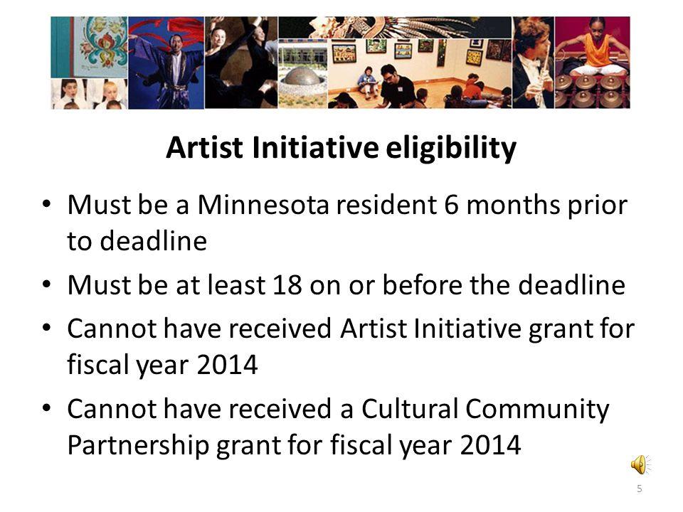 Artist Initiative eligibility