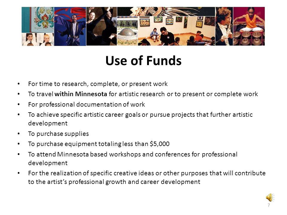 Use of Funds For time to research, complete, or present work