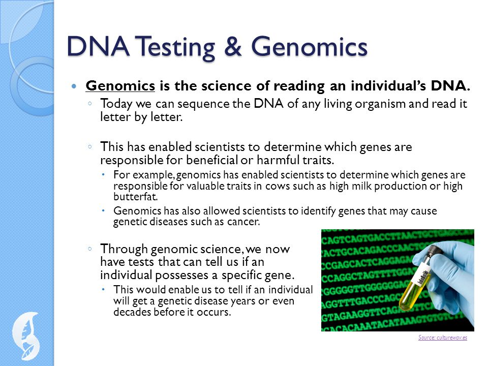 DNA Testing & Genomics Genomics is the science of reading an individual's DNA.