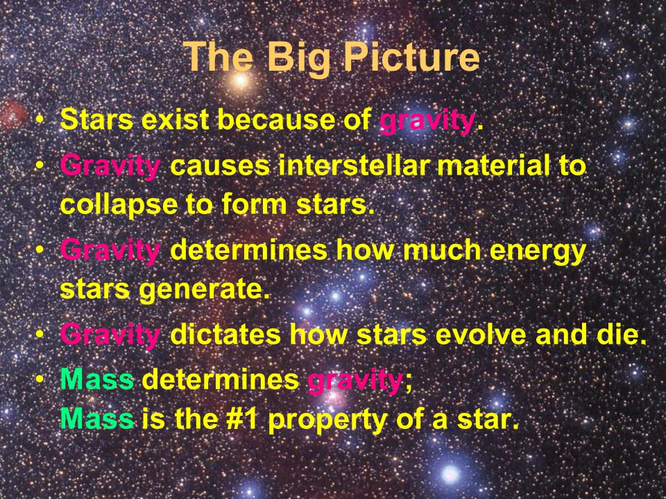 The Big Picture Stars exist because of gravity.
