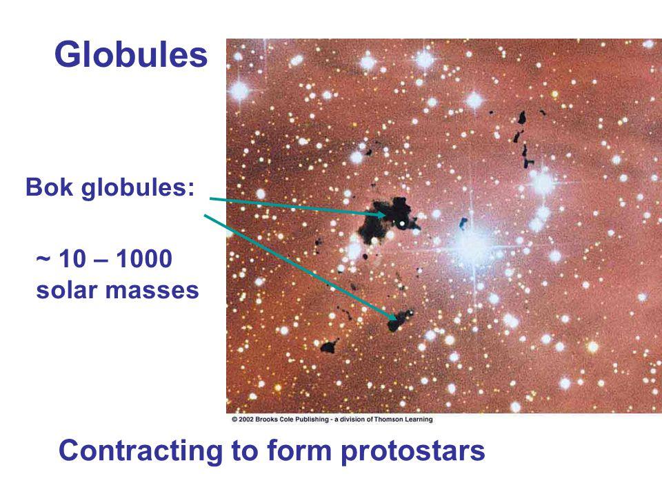 Globules Contracting to form protostars Bok globules: