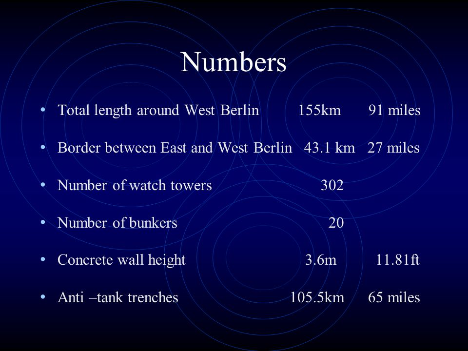 Numbers Total length around West Berlin 155km 91 miles