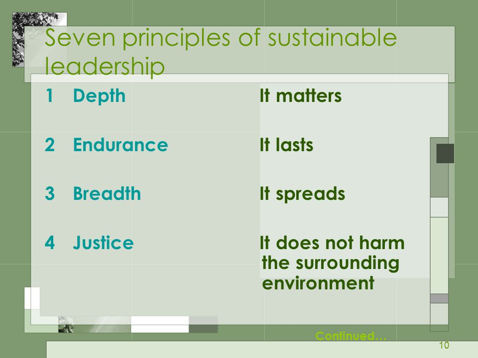 Seven principles of sustainable leadership