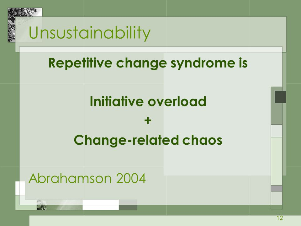 Repetitive change syndrome is