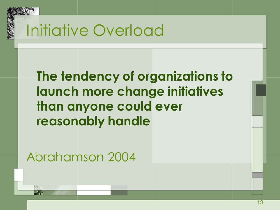 Initiative Overload The tendency of organizations to launch more change initiatives than anyone could ever reasonably handle.