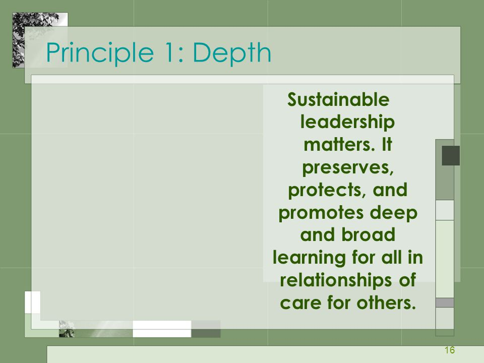 Principle 1: Depth