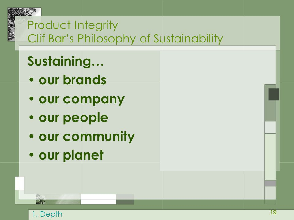 Product Integrity Clif Bar's Philosophy of Sustainability