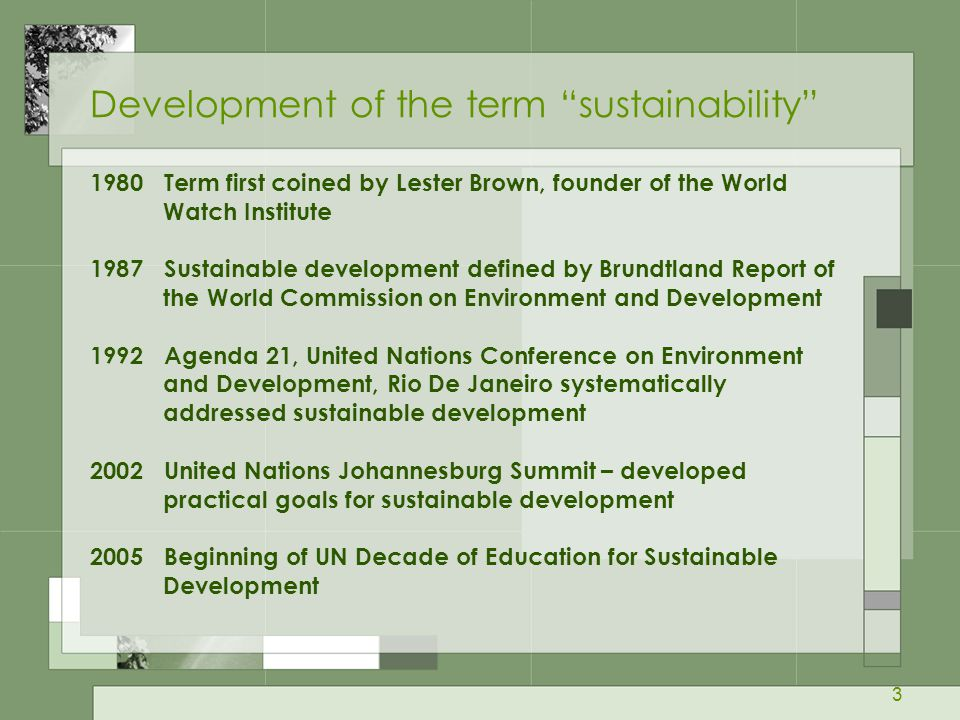 Development of the term sustainability