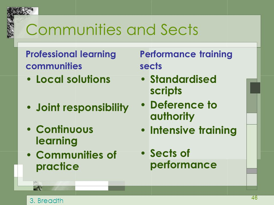 Communities and Sects Local solutions Joint responsibility