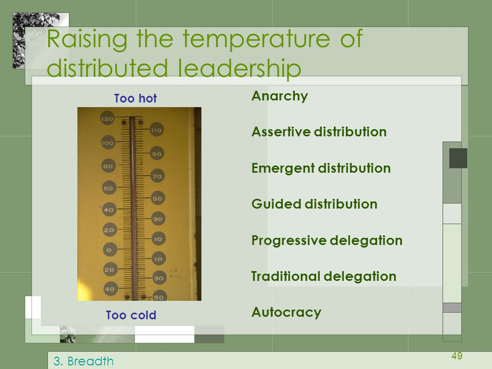 Raising the temperature of distributed leadership