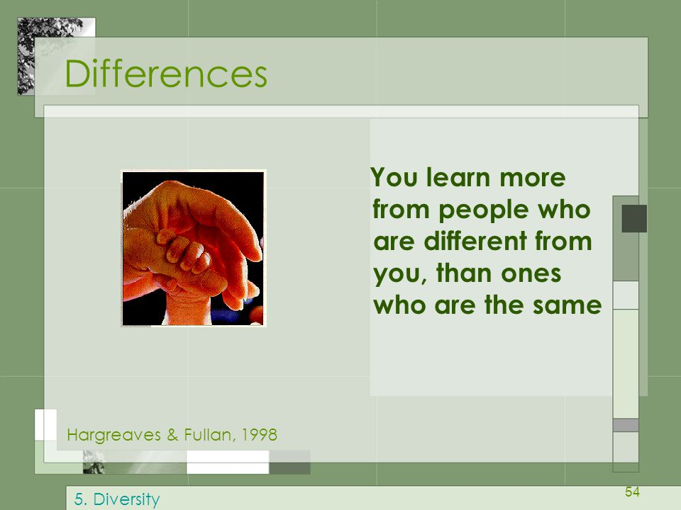 Differences You learn more from people who are different from you, than ones who are the same. Hargreaves & Fullan, 1998.
