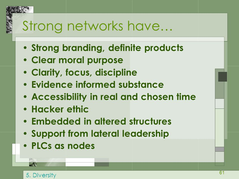 Strong networks have… Strong branding, definite products