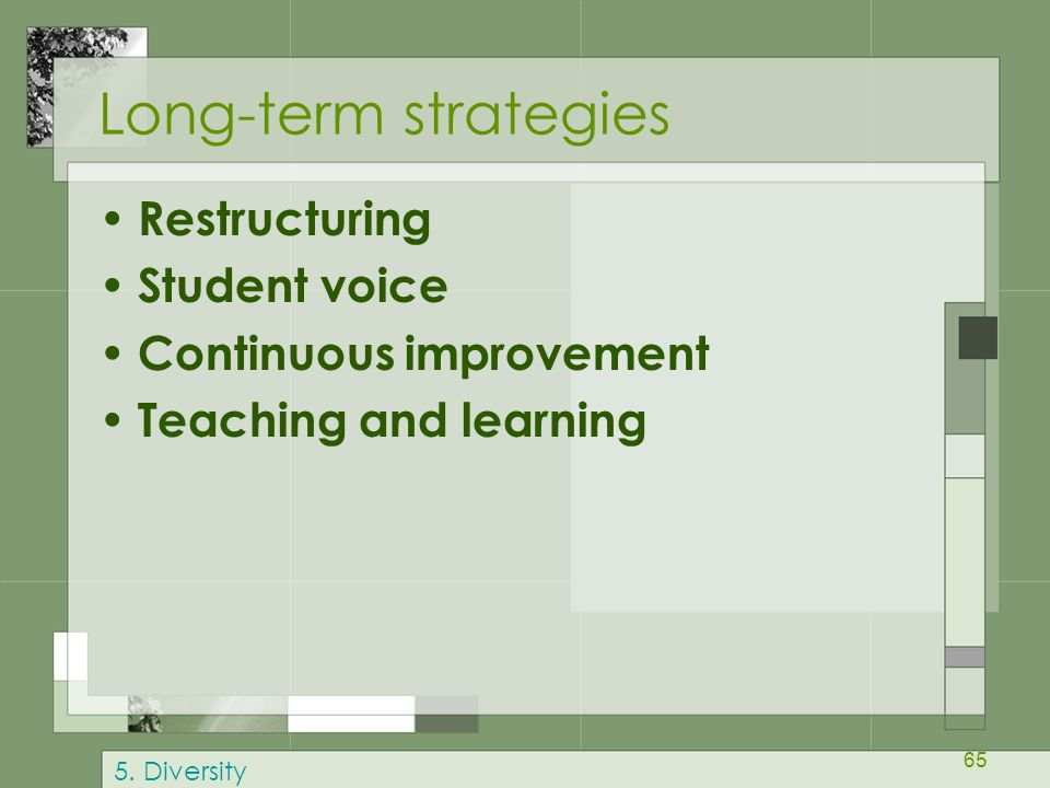 Long-term strategies Restructuring Student voice