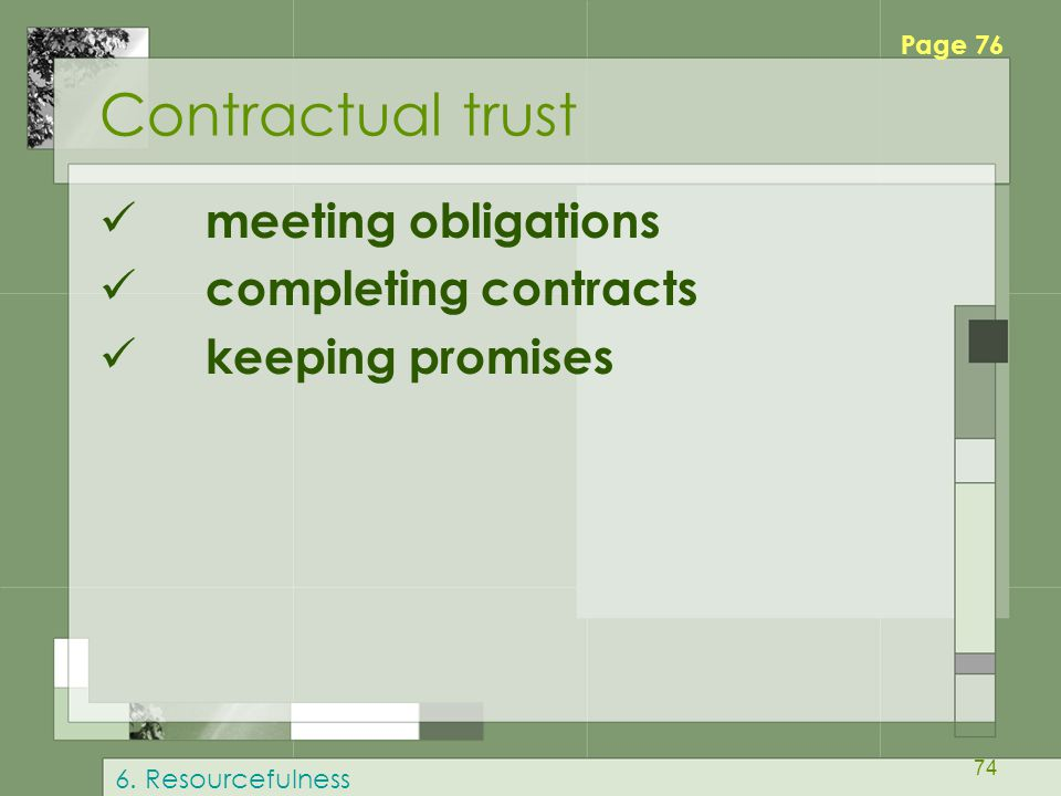 Contractual trust meeting obligations completing contracts