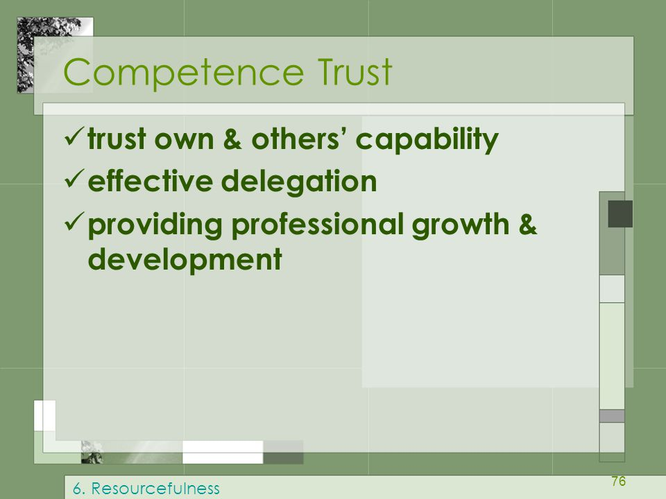 Competence Trust trust own & others' capability effective delegation