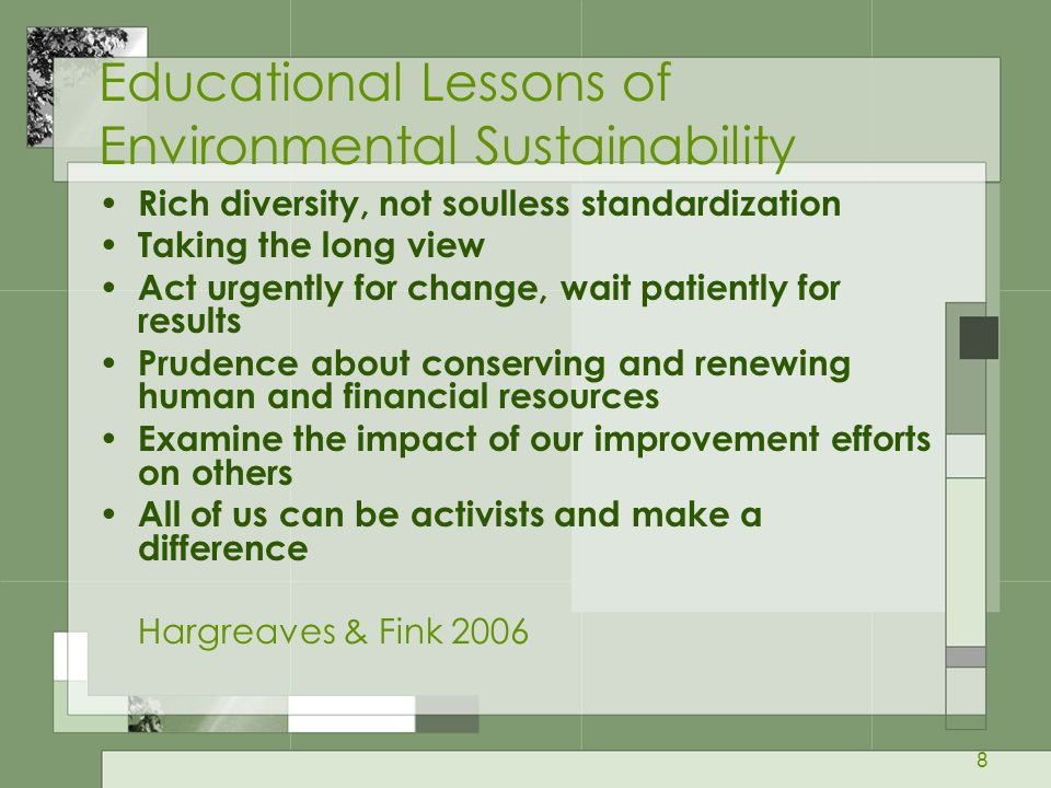 Educational Lessons of Environmental Sustainability