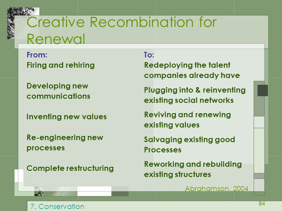 Creative Recombination for Renewal