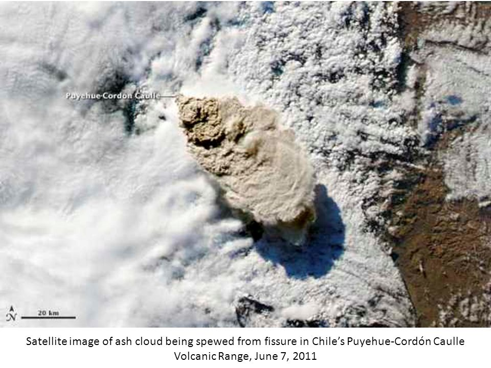 Satellite image of ash cloud being spewed from fissure in Chile's Puyehue-Cordón Caulle Volcanic Range, June 7, 2011