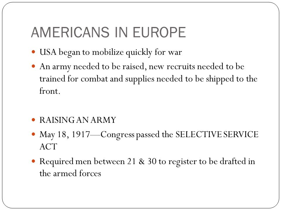 AMERICANS IN EUROPE USA began to mobilize quickly for war