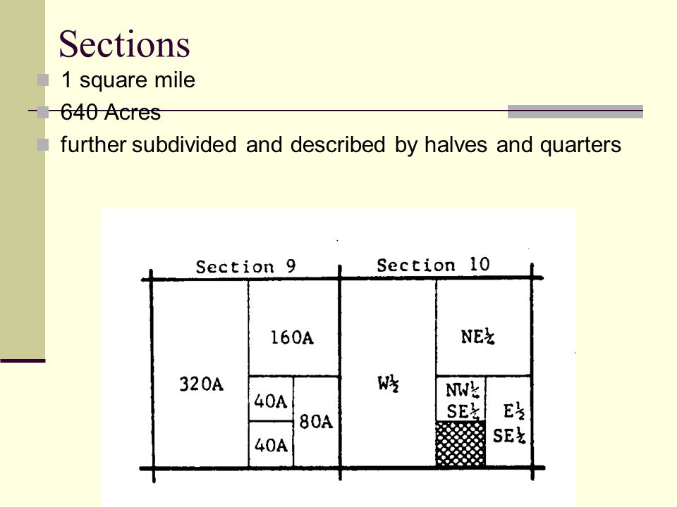Sections 1 square mile 640 Acres
