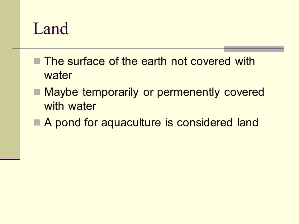 Land The surface of the earth not covered with water