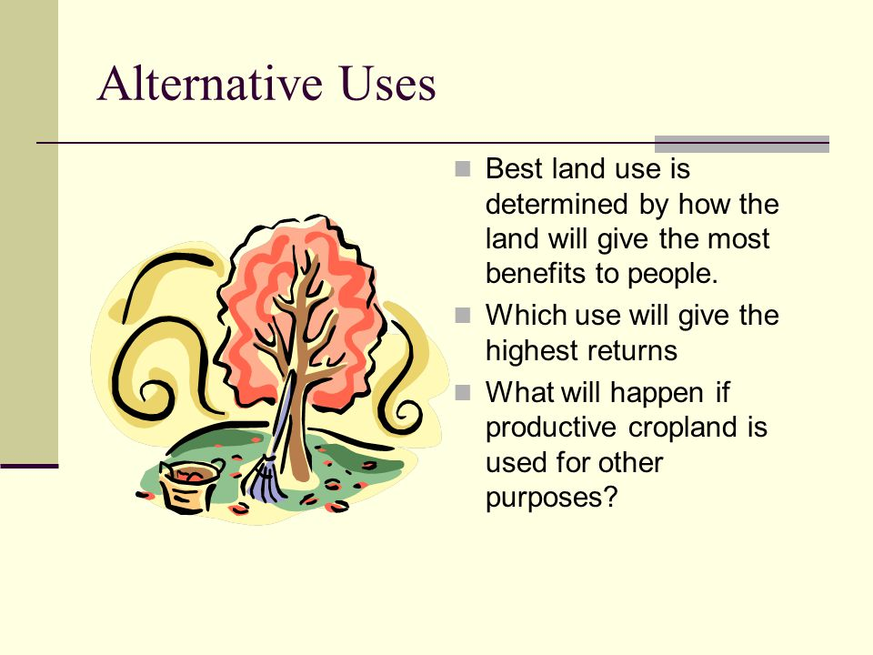 Alternative Uses Best land use is determined by how the land will give the most benefits to people.