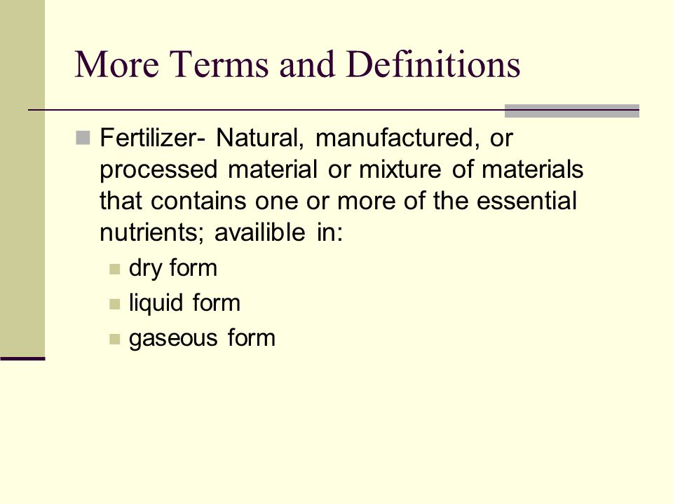 More Terms and Definitions