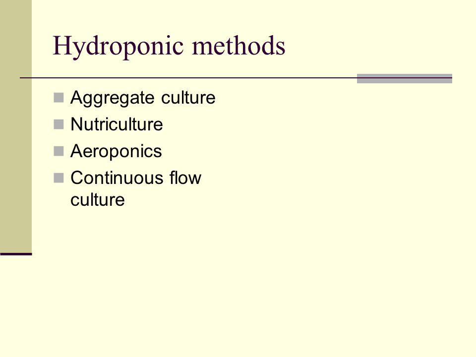 Hydroponic methods Aggregate culture Nutriculture Aeroponics