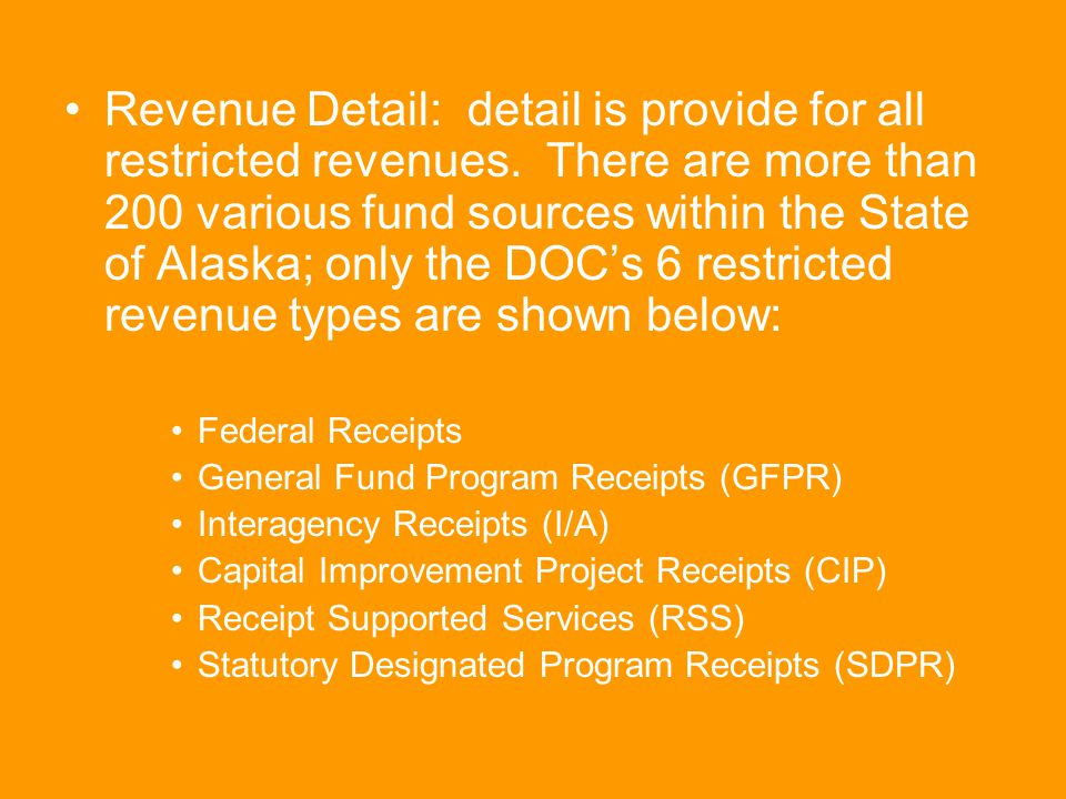 Revenue Detail: detail is provide for all restricted revenues