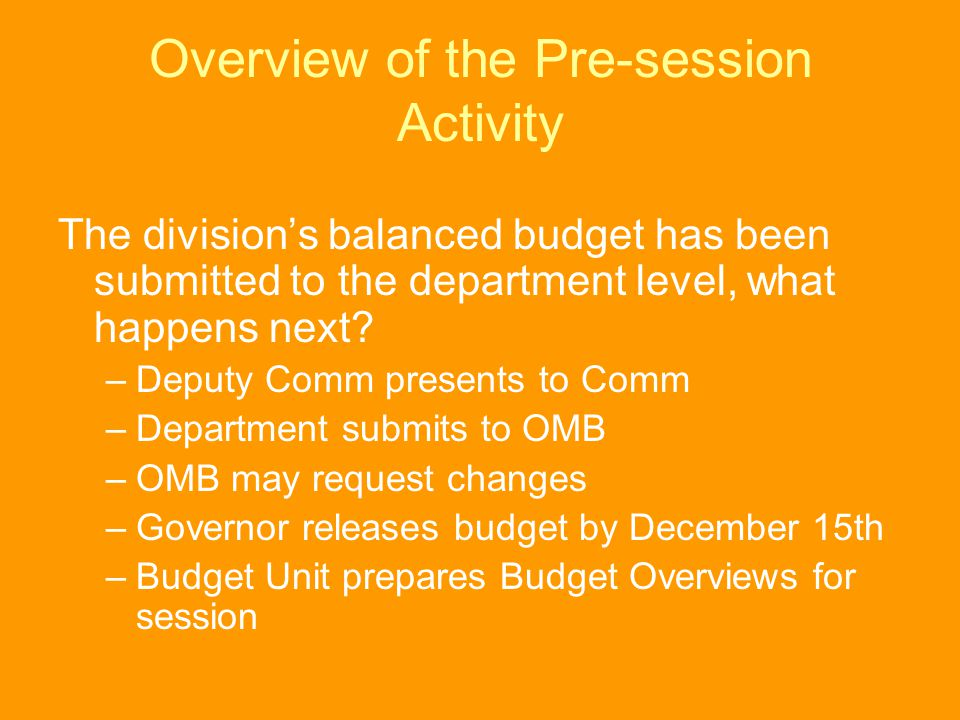 Overview of the Pre-session Activity