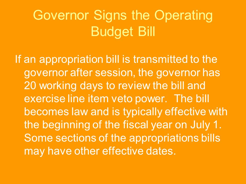 Governor Signs the Operating Budget Bill