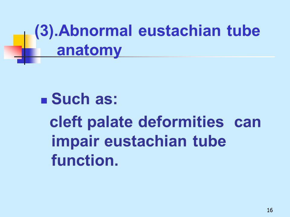 (3).Abnormal eustachian tube anatomy