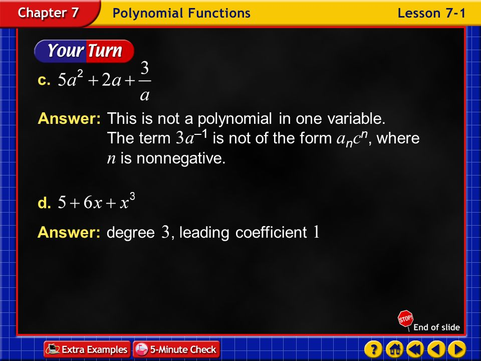 Answer: degree 3, leading coefficient 1