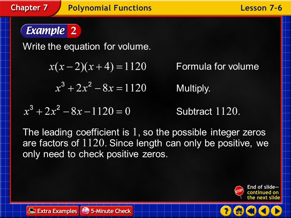 Write the equation for volume.