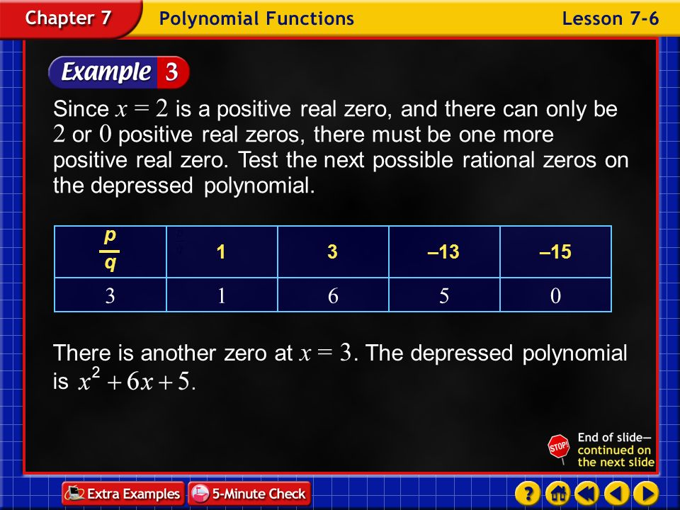 There is another zero at x = 3. The depressed polynomial is