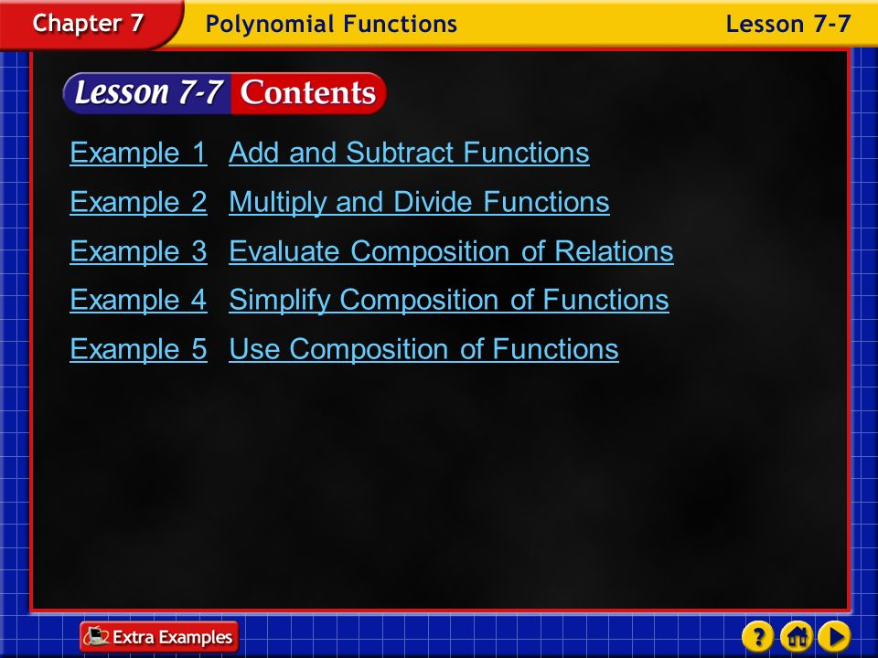 Example 1 Add and Subtract Functions