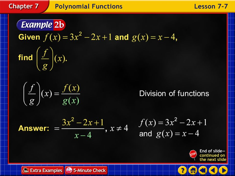 Given find Division of functions Answer: and Example 7-2b