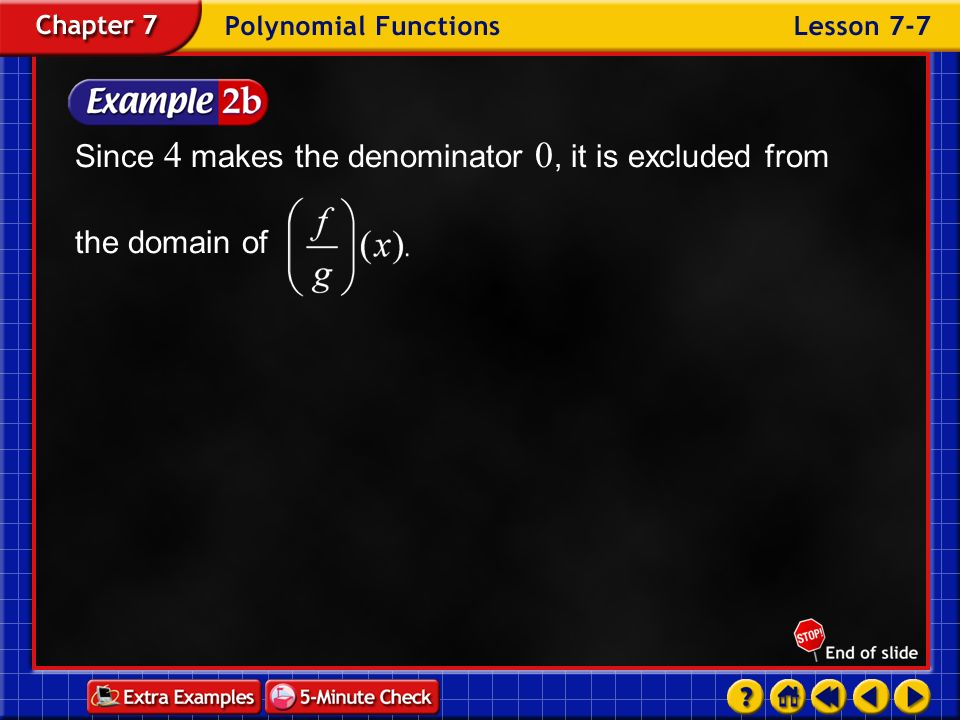 Since 4 makes the denominator 0, it is excluded from the domain of