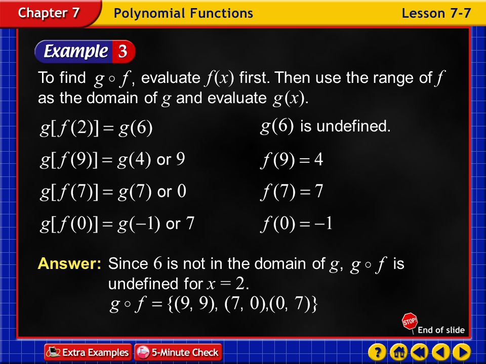 Answer: Since 6 is not in the domain of g, is undefined for x = 2.